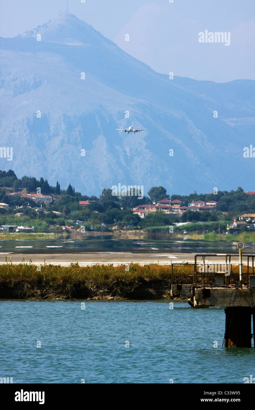 Airplane landing at Corfu, Ioannis Kapodistrias Airport, Greece Stock Photo