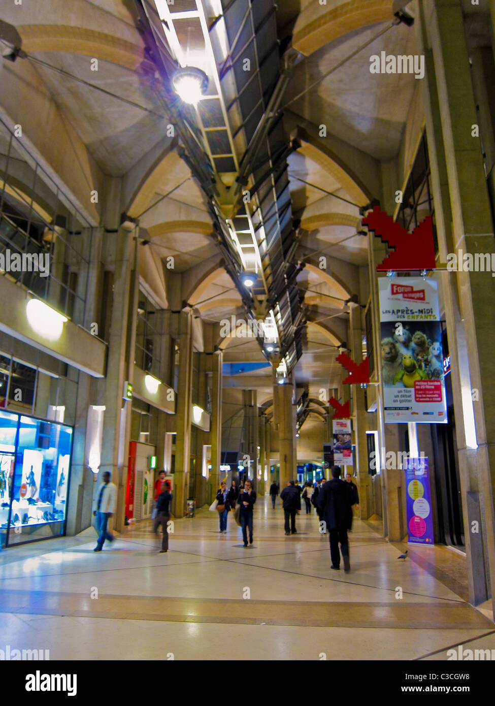 Paris france hallway in le forum des halles shopping center sto - Les halles paris shopping ...
