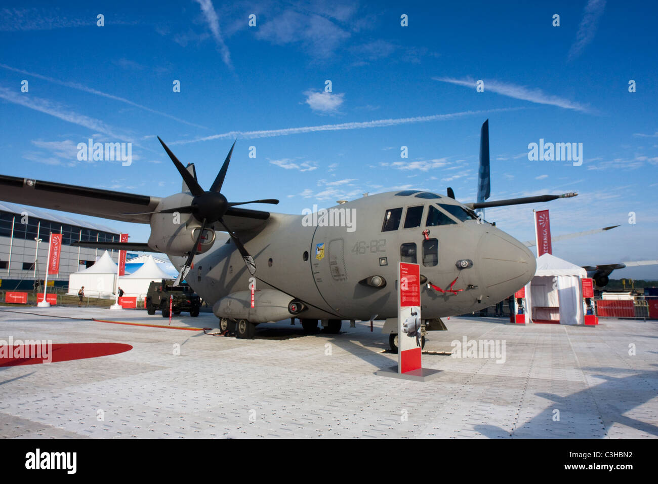 Italy Air Force Alenia C-27J Spartan from 46 Squadron based at Pisa/San Giusto AB at Farnborough Airshow 2010, UK. Stock Photo