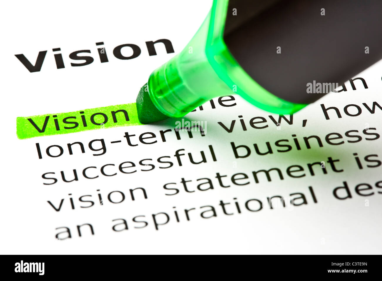 The word 'Vision' highlighted in green with felt tip pen Stock Foto