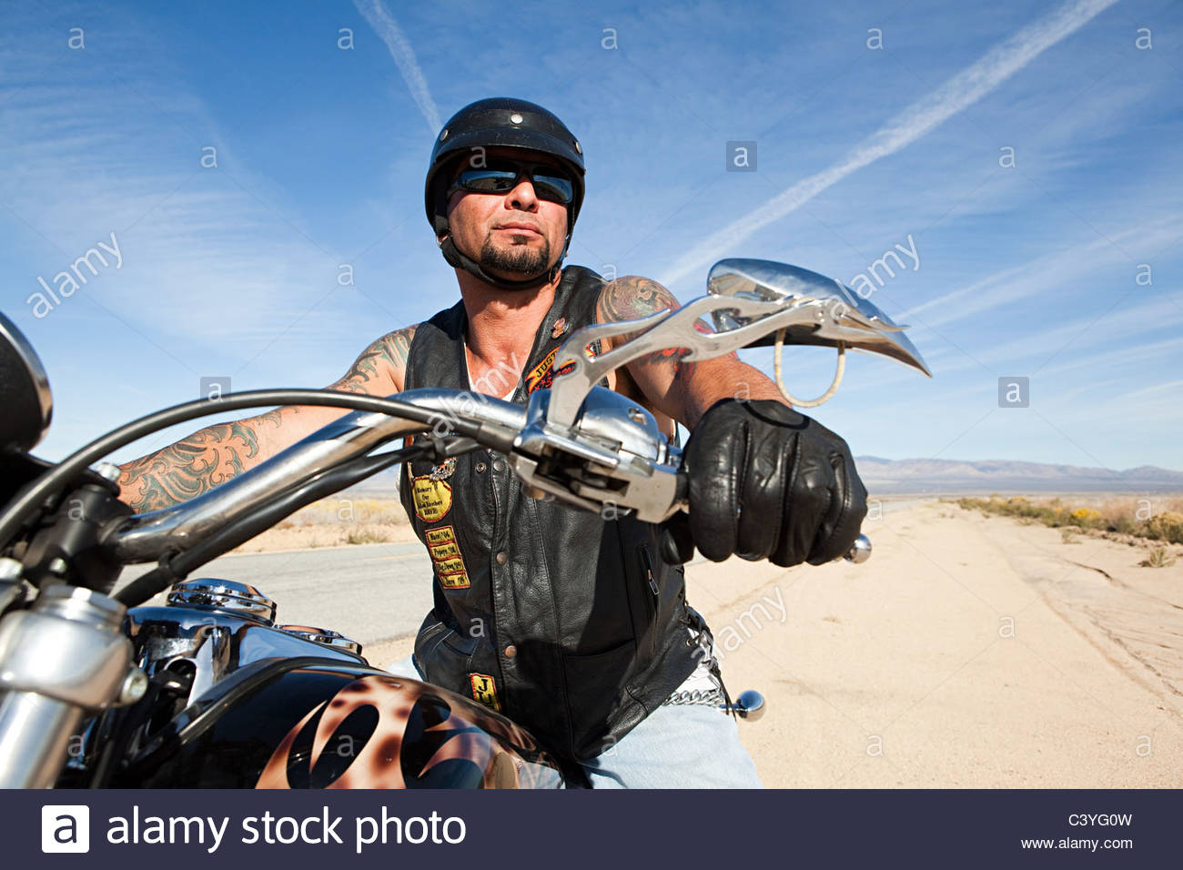 Portrait of mature man on motorcycle Stock Foto