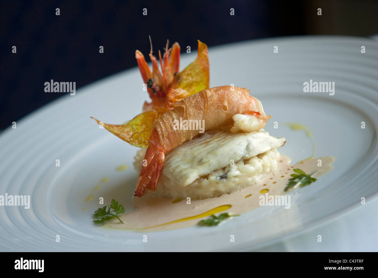 Nouvelle cuisine gourmet fish and seafood dish stock photo royalty free image 36964691 alamy for Nouvelle cuisine