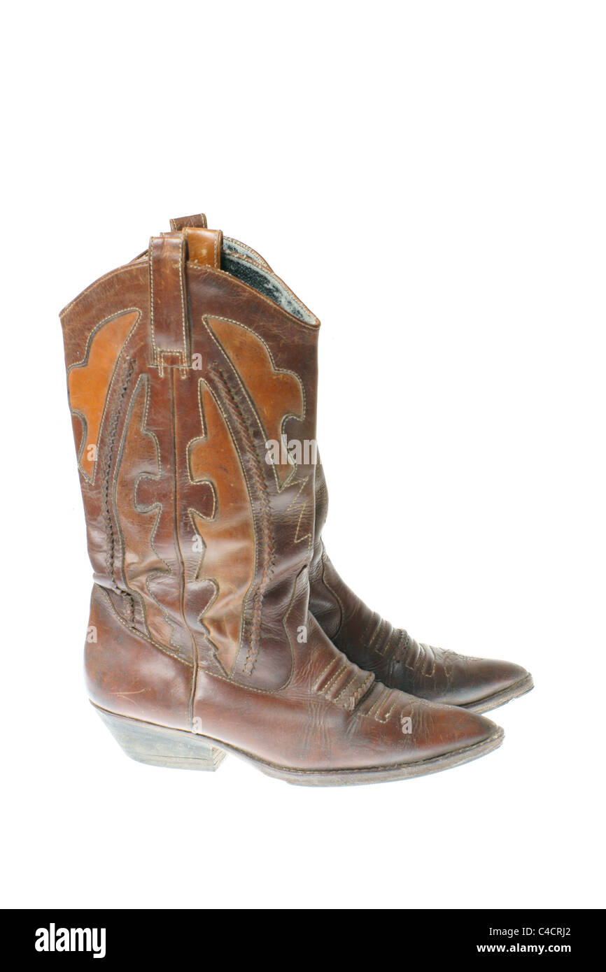 cowgirl boots isolated on white background stock photo