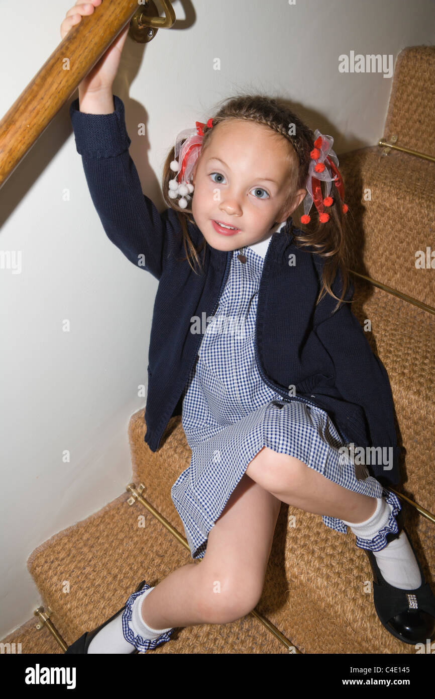 Stock Photo 4 Years Old Schoolgirl In Gingham Dress Summer School Uniform 37187589 on Body Image And Your Five Year Old