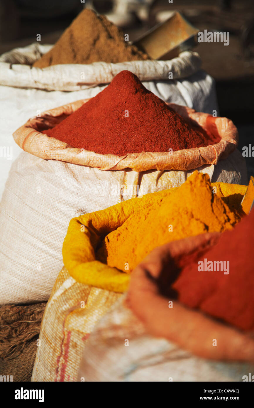 Spices for sale at market bundi rajasthan india stock for City indian dining ltd t a spice trader