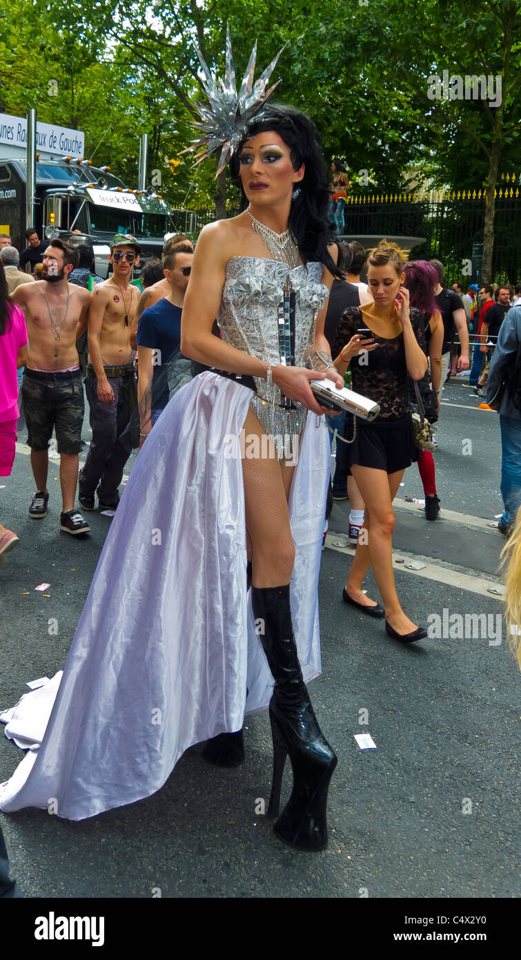 Paris france transvestite in wedding dress marching at for Wedding dresses in paris france
