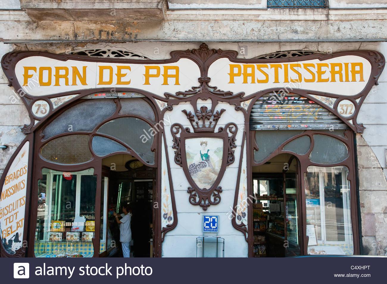 Art nouveau style sign of bakery shop eixample barcelona - Art deco barcelona ...