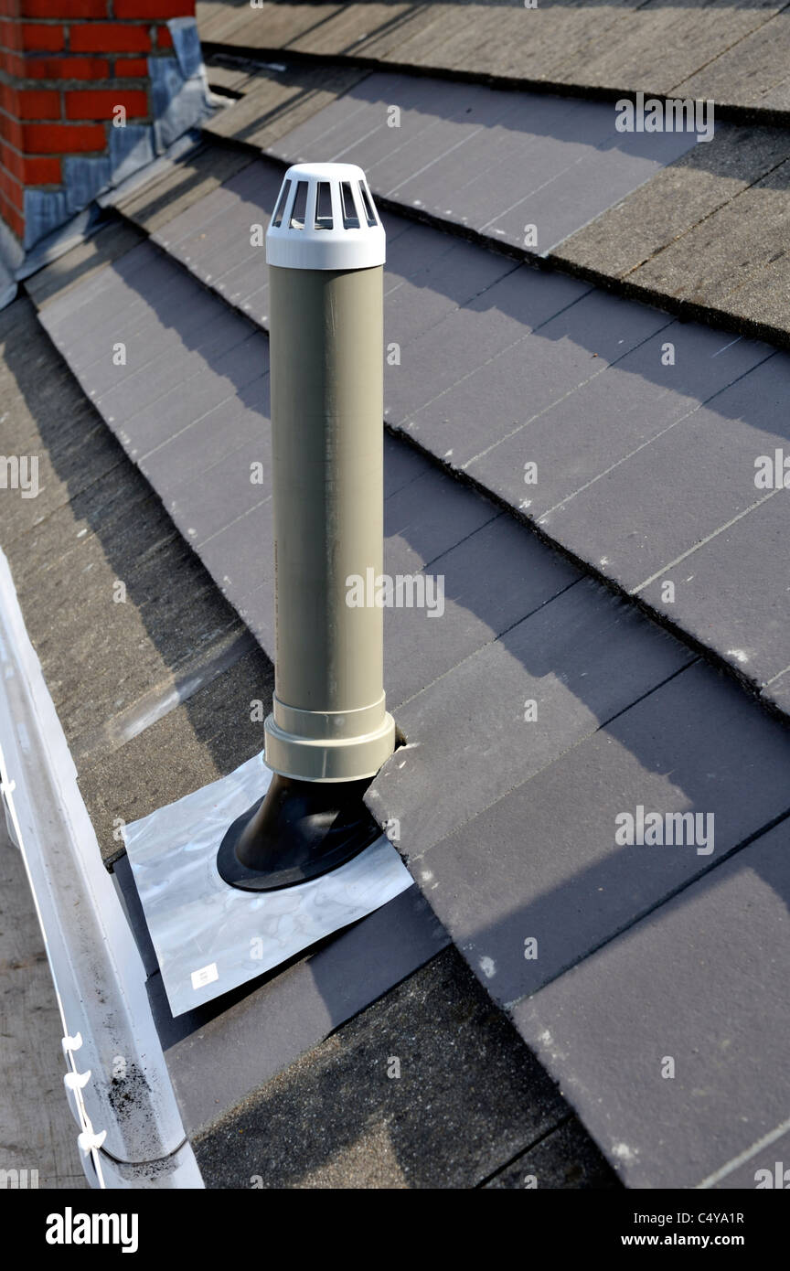 Plastic soil vent stack at roof stock photo royalty free for 80mm soil vent pipe