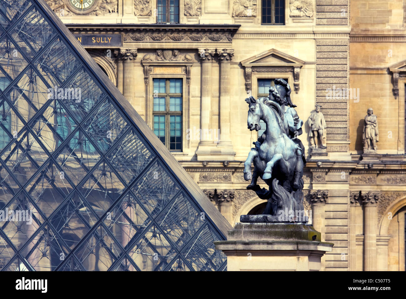 Equestrian statue of Louis XIV in the courtyard of the Musée du Louvre, Paris, France. Stock Photo