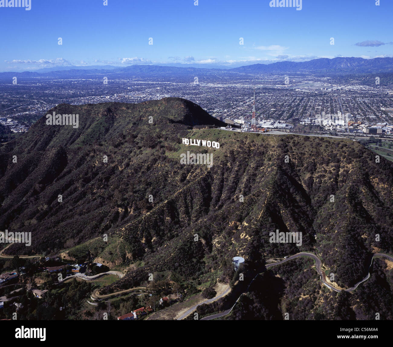 hollywood sign aerial view city of burbank behind the. Black Bedroom Furniture Sets. Home Design Ideas