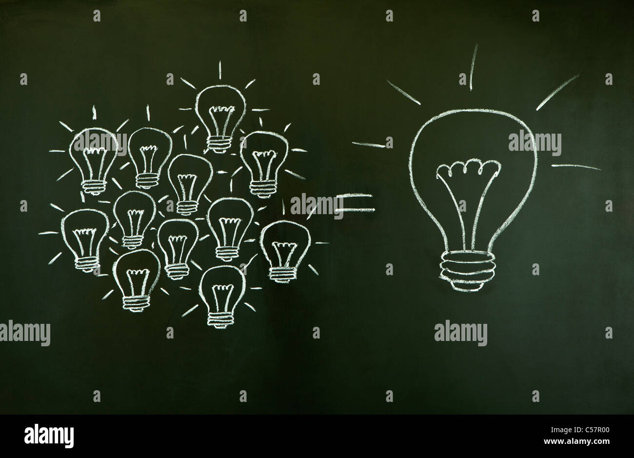 Many small ideas equal a big one, illustrated with chalk drawn light bulbs on a blackboard. Stock Foto