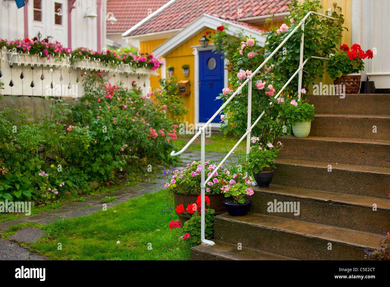 Stairways To The Beautiful Garden With House In The