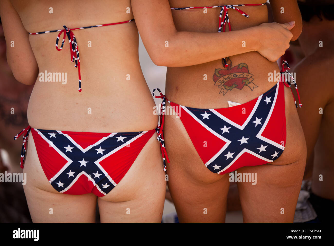 Young women wearing confederate bikini's at the annual Summer Redneck Games Dublin, GA. Stock Foto
