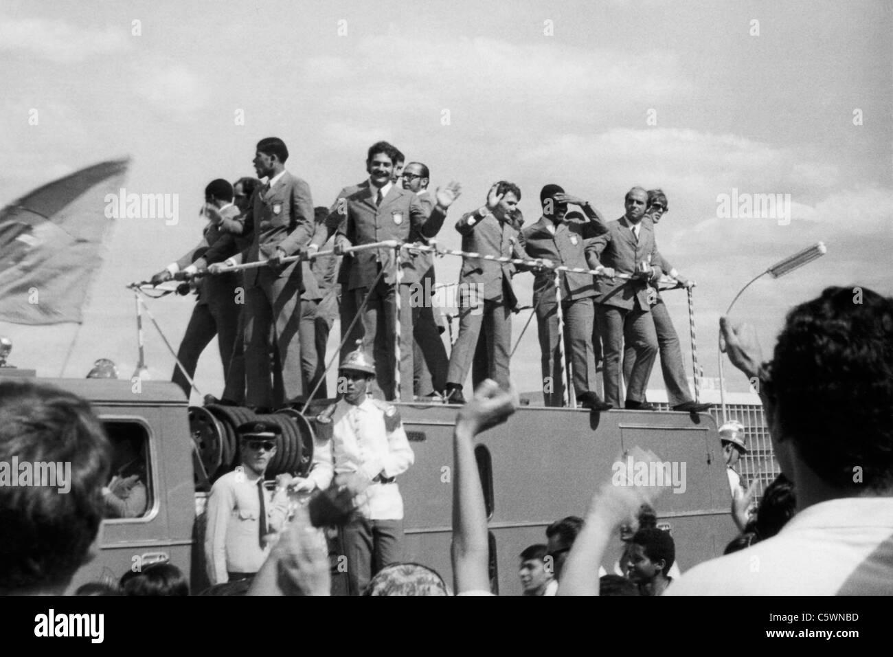Arrival in Brasilia of Brazilian Football Team, World Champion, 1970 Stock Photo