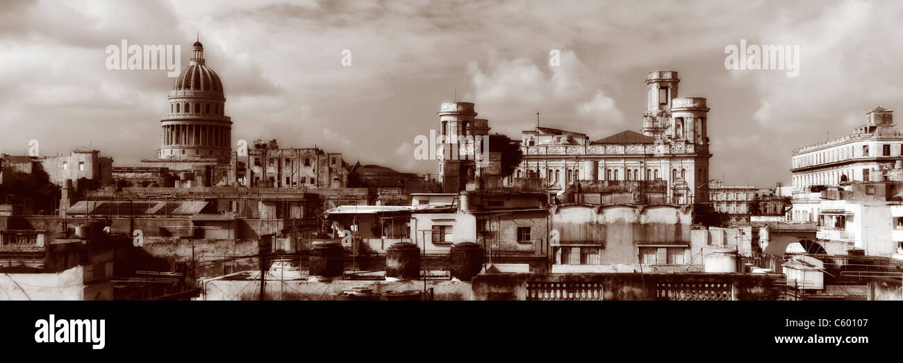 Havanna Vieja ,elevated view, Old Havanna Skyline, Panorama , Cuba Stock Foto