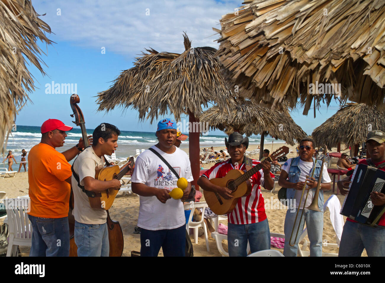Son Musicians at Playa del Este , Santa Maria Del Mar, near Havanna Cuba Stock Foto