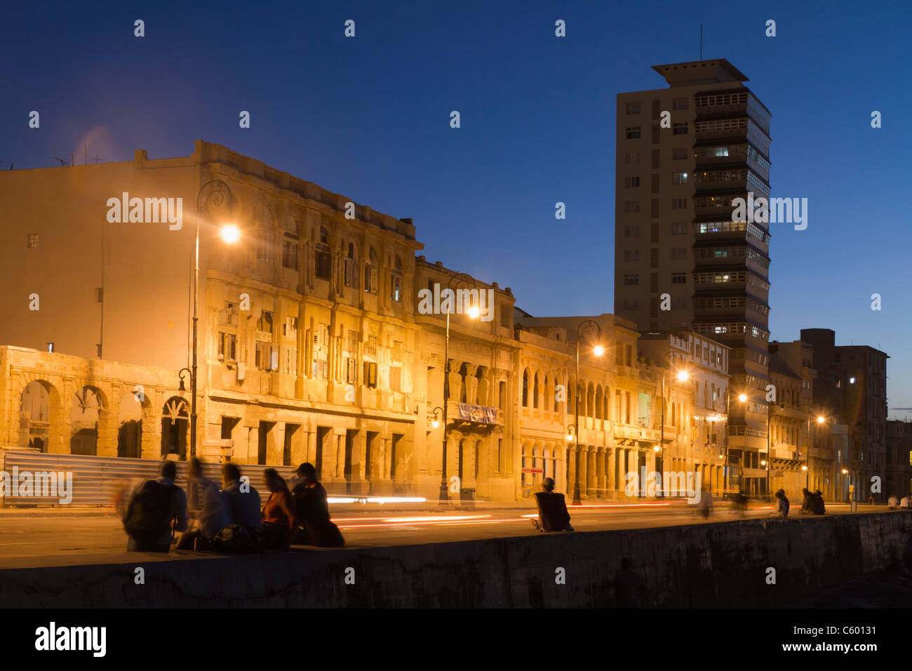 Malecon Promenade at sunset, Havanna Cuba Stock Foto