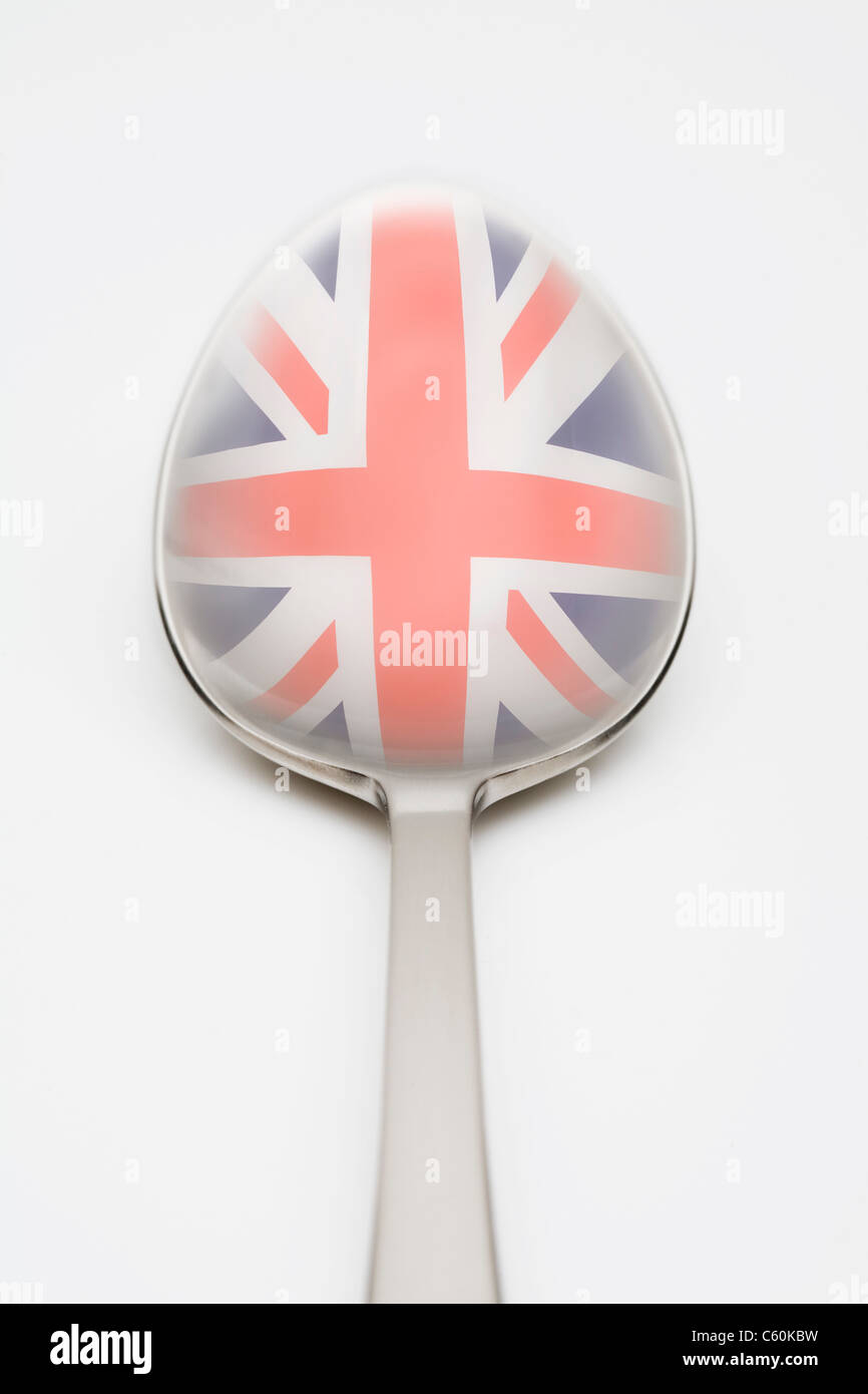 British flag reflected in spoon Stock Foto