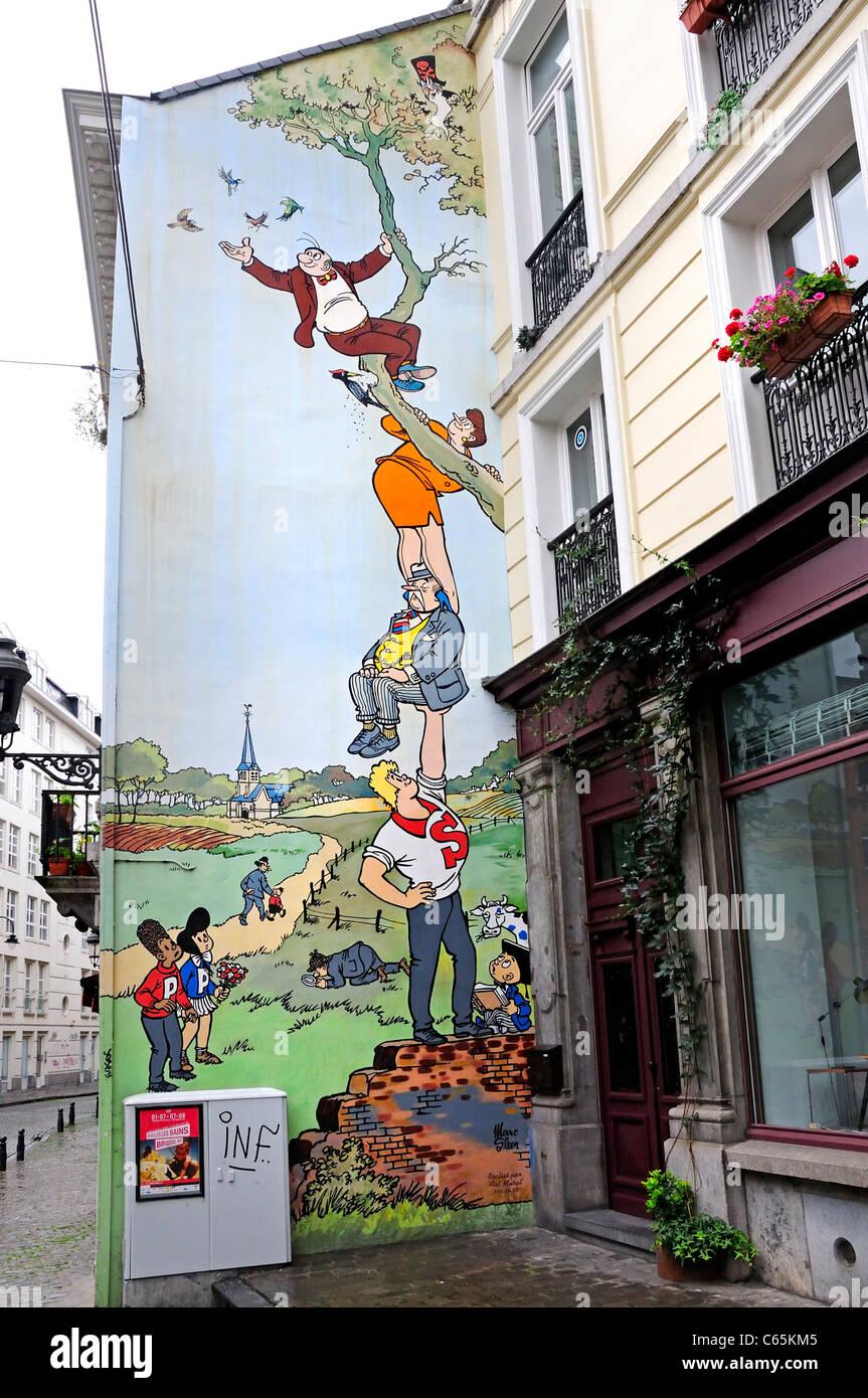 Brussels belgium cartoon mural by 39 art mural 39 stock for Cartoon mural painting