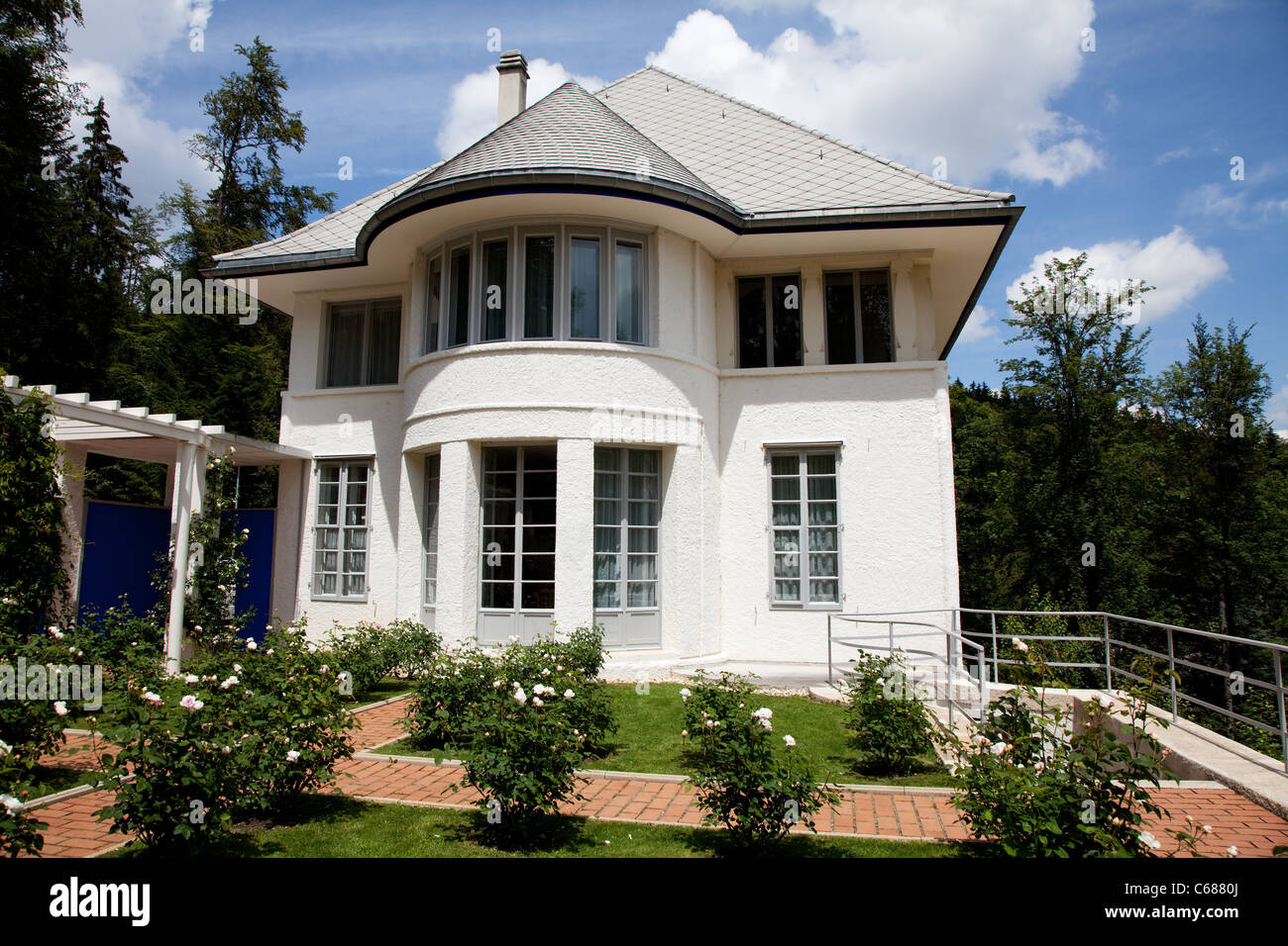 la maison blanche in la chaux de fonds switzerland this is the stock photo royalty free image