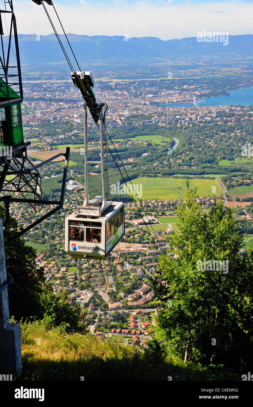 Cable Automotive Oklahoma City : The saleve cable car france with city of geneva in