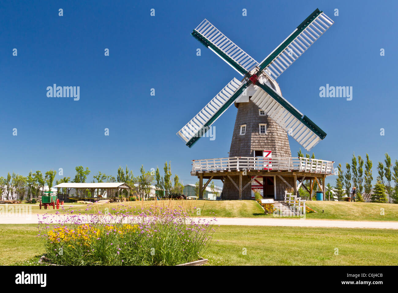A Windmill Used For Grinding Grain Into Flour At The Mennonite Stock Photo Royalty Free Image