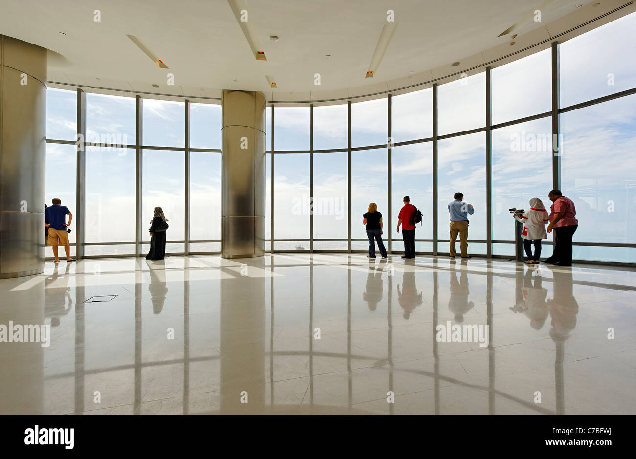The highest observation deck in the world, AT THE TOP,  BURJ KHALIFA, the tallest tower in the world, Dubai, United Stock Foto