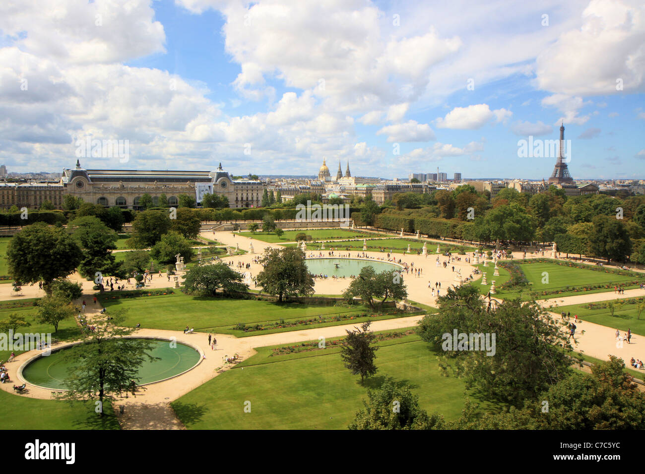 Aerial view of jardin des tuileries from the great wheel for Jardins jardins des tuileries