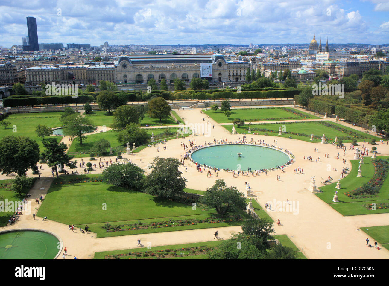 Aerial view of jardin des tuileries from the great wheel for Jardin des tuileries horaires