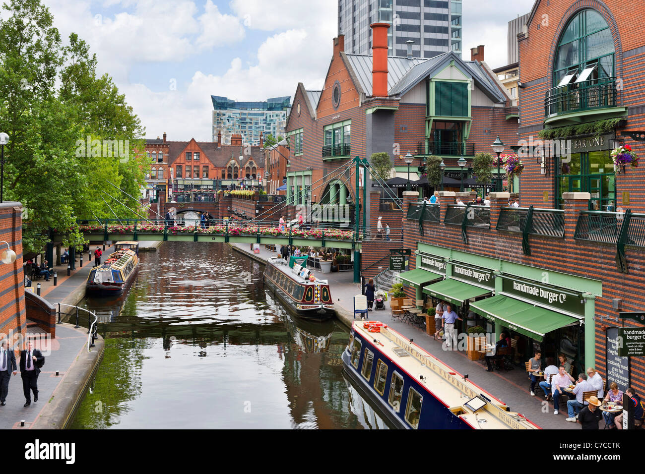 Narrowboats In Front Of Restaurants On The Canal At Brindley Place Stock Photo Royalty Free