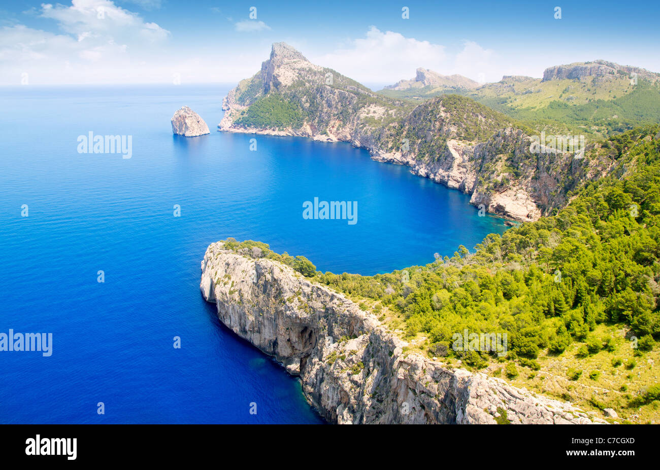 Formentor cape to Pollensa high aerial sea view in Mallorca balearic islands Stock Photo