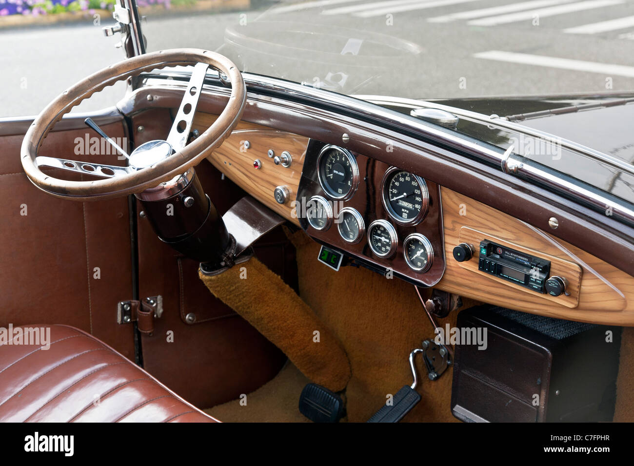 rationally designed dashboard wooden steering wheel leather stock photo royalty free image. Black Bedroom Furniture Sets. Home Design Ideas