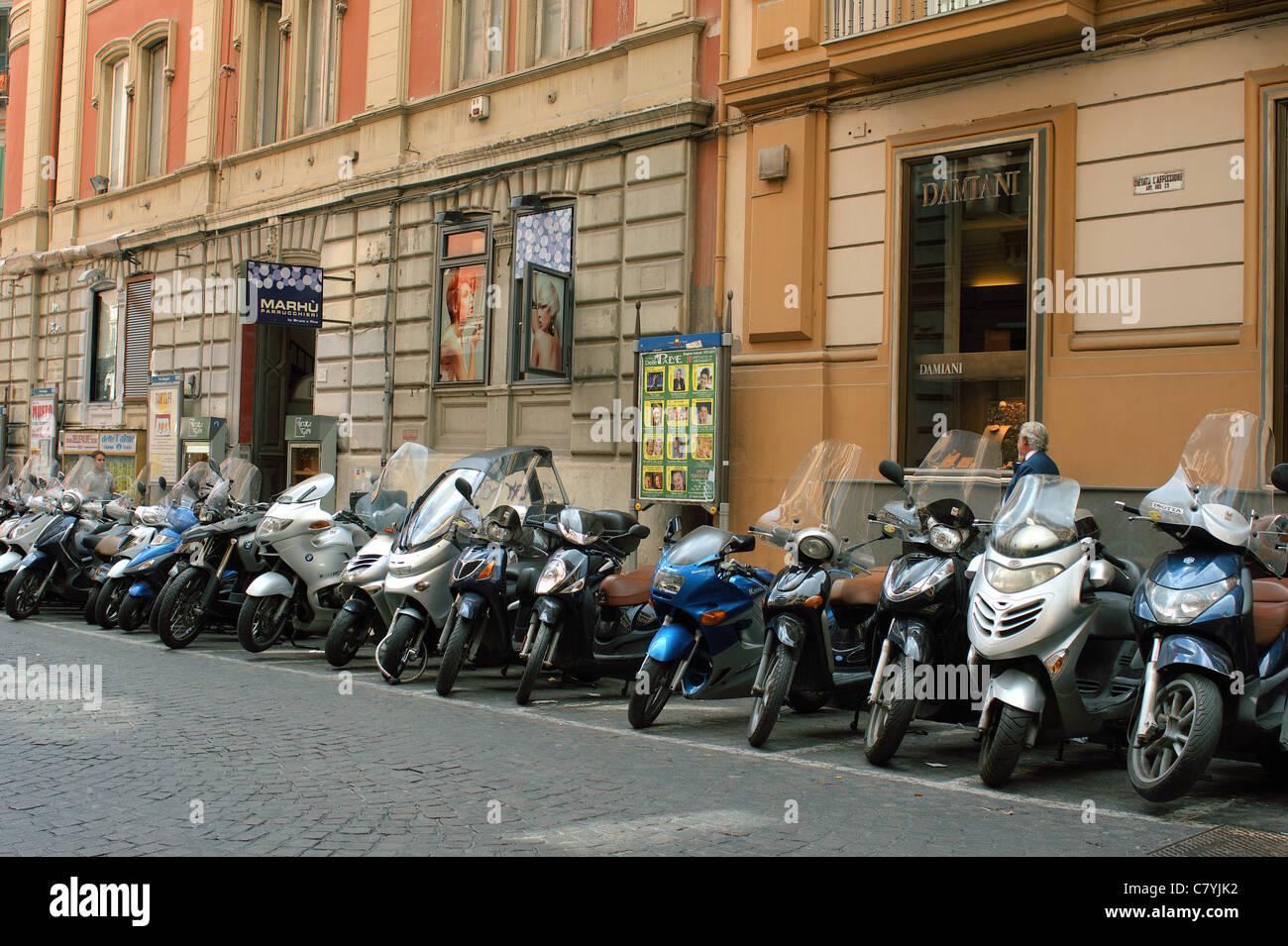 Motor Bikes Scooters Naples Napoli Italy Stock Photo
