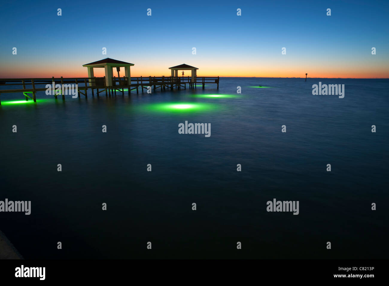 Pier with underwater fishing lights at the texas gulf for Texas gulf coast fishing