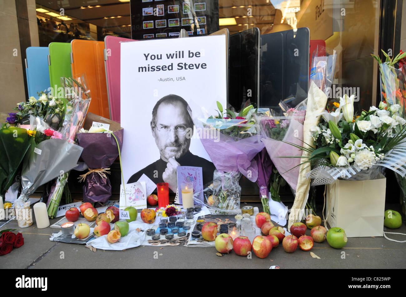 Find A Grave Steve Jobs: Steve Jobs Death Memorial Shrine Apple Store Flowers