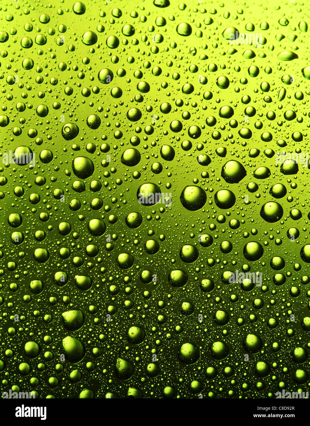 Texture of water drops on the bottle of beer. Stock Photo