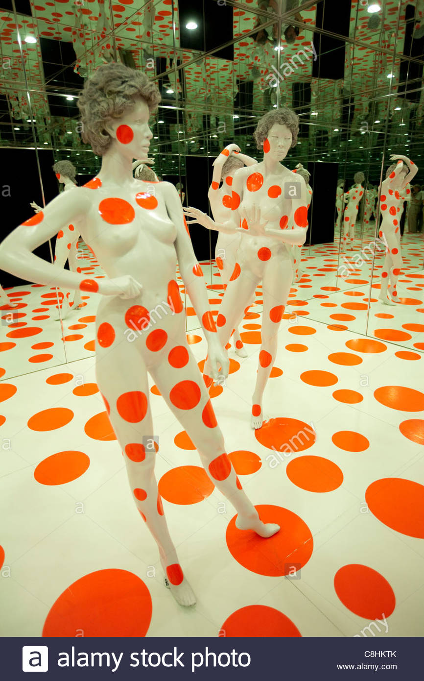 The Infinity Dots Mirrored Room at the Mattress Factory Museum. Stock Foto