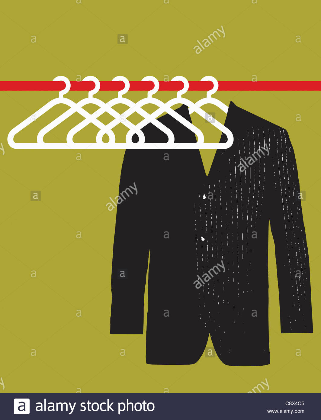 Suit jacket hanging in empty closet Stock Foto