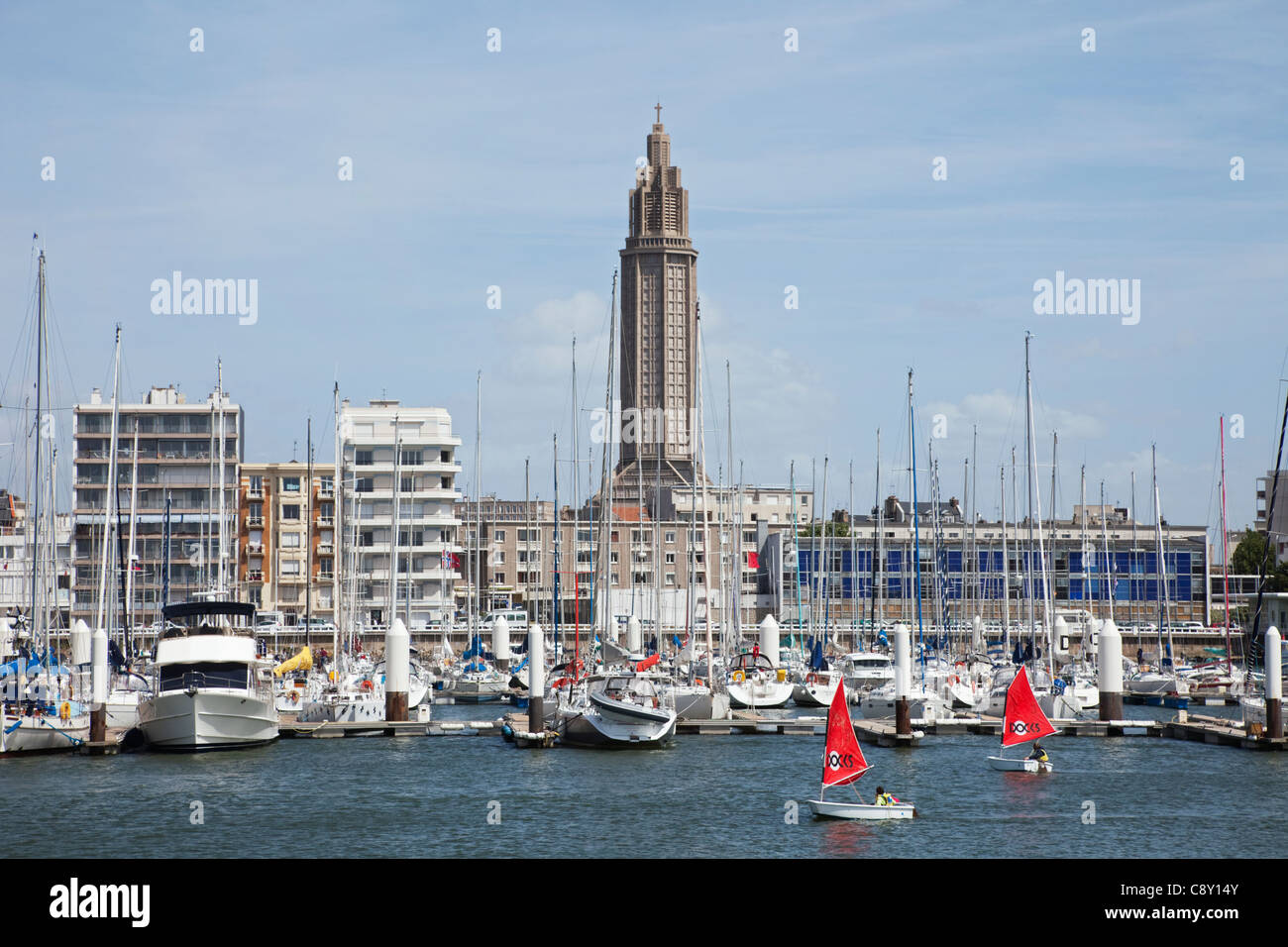 france normandy le havre yacht marina and city skyline stock photo royalty free image. Black Bedroom Furniture Sets. Home Design Ideas