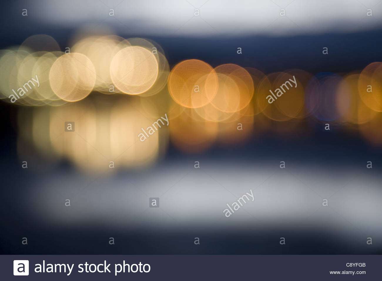 Abstract city lights at night out of focus Stock Foto