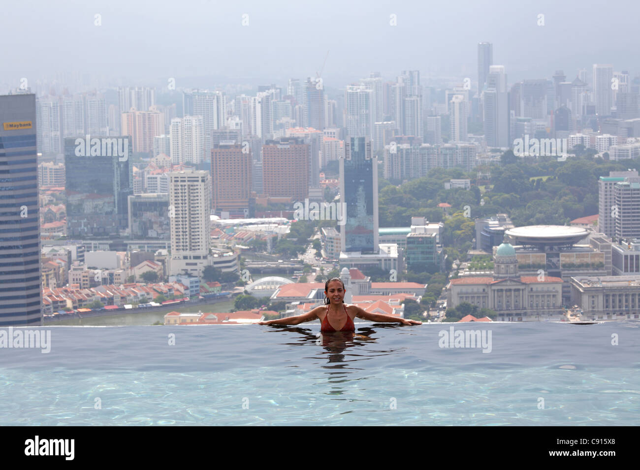 The Swimming Pool On The Top Of Marina Bay Sand Hotel Singapore Stock Photo Royalty Free Image