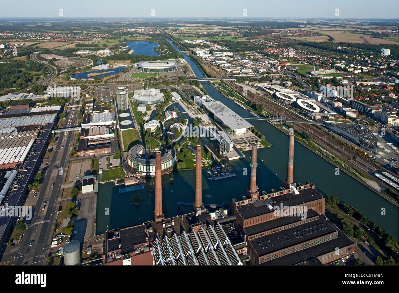 aerial view of power plant and vw autostadt wolfsburg. Black Bedroom Furniture Sets. Home Design Ideas