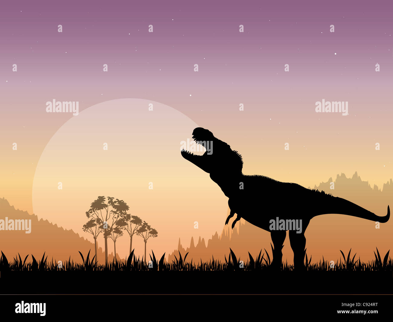 The Silhouette of a Tyrannosaurus Rex Roaring in front of a dull moon with a starry night sky as the backdrop. Stock Photo