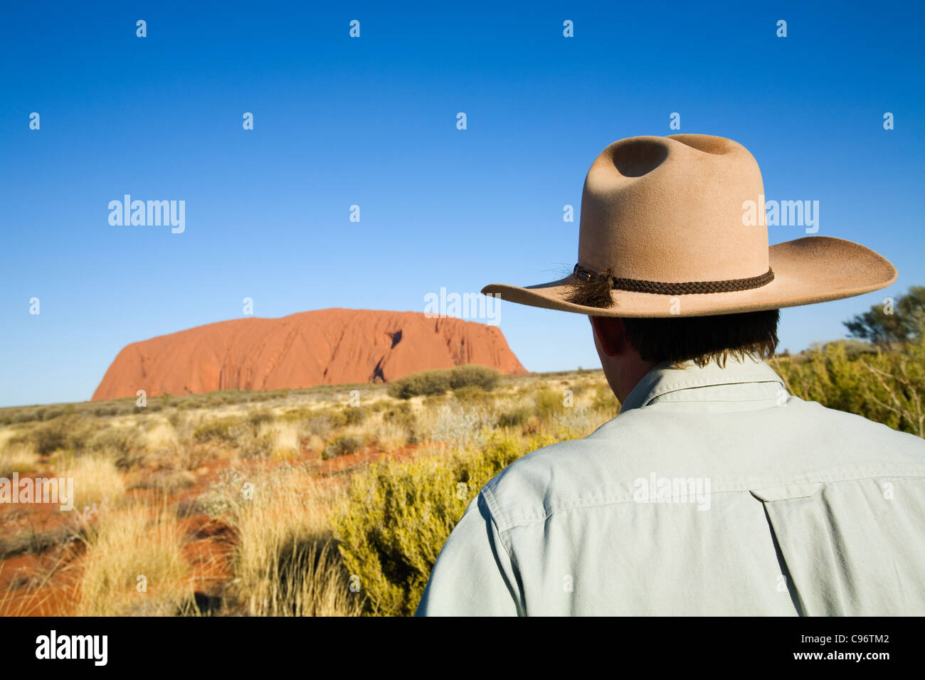 An outback guide looking towards Uluru (Ayers Rock).  Uluru-Kata Tjuta National Park, Northern Territory, Australia Stock Foto