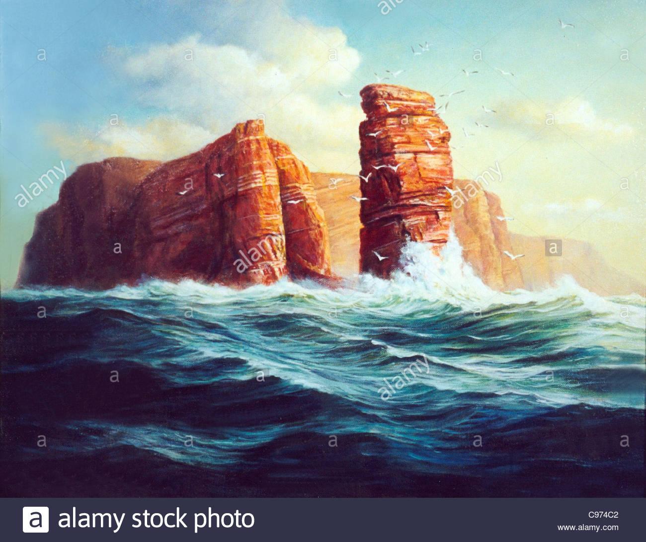 Island Helgoland lgemlde Stock Photo