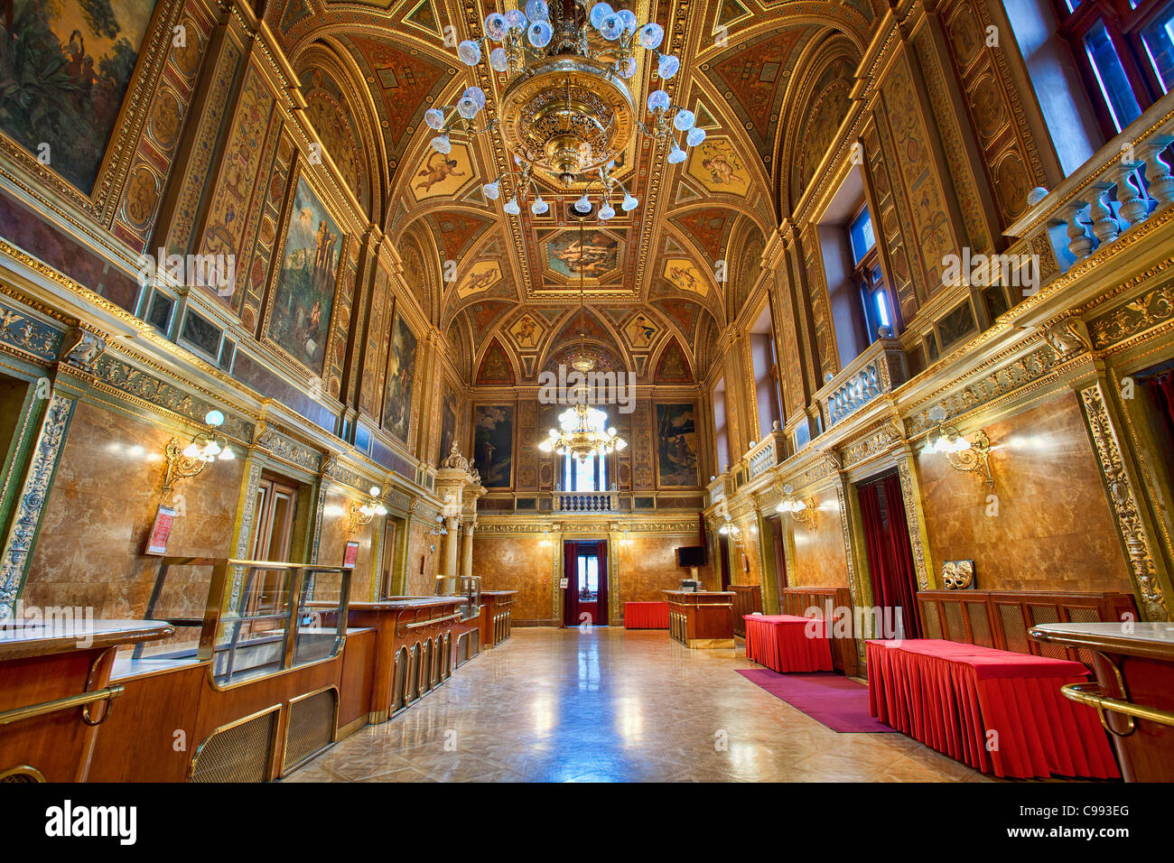 Opera House Foyer : Budapest foyer interior of the opera house stock photo