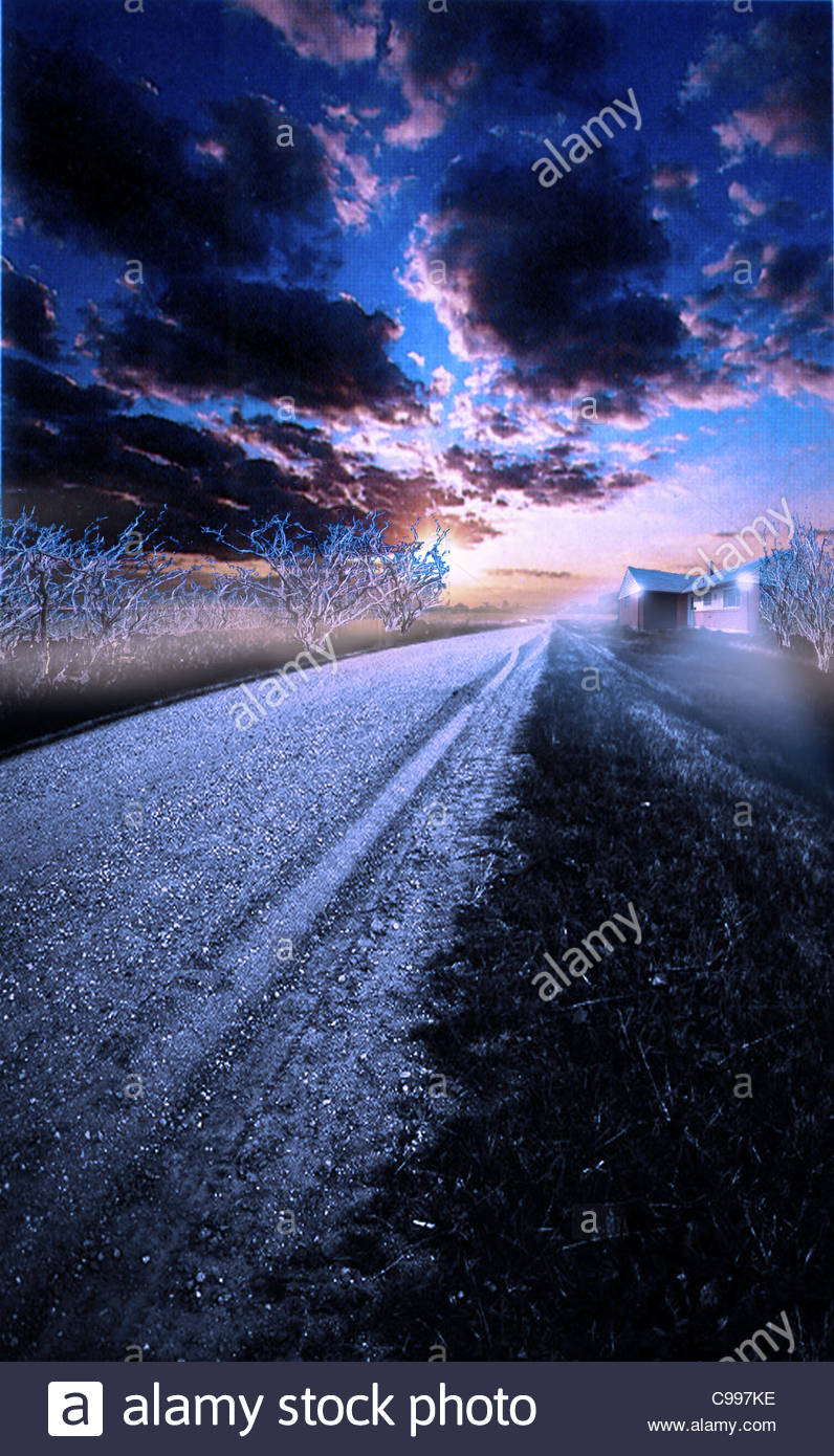 Winter morning Snow track Lonely Home Houses Architecture Buildings Stock Foto