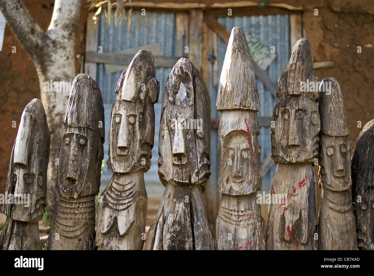 Africa ethiopia konso carved wooden grave marker stock