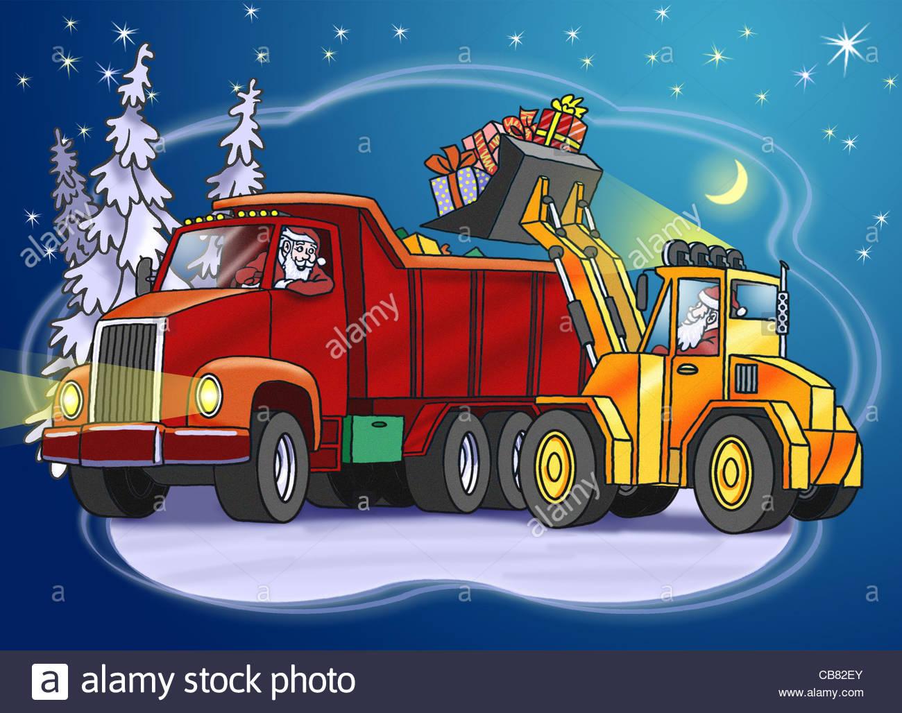 Santa Claus Christmas Truck Forklift Christmas Gifts Santa