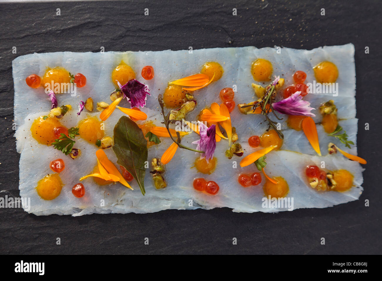 cod-carpaccio-served-on-a-slate-plate-CB